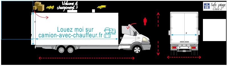 Schéma et image d'un camion avec chauffeur 30m3
